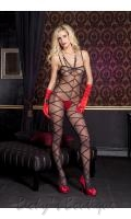 Criss-Cross Print Bodystocking  ML-1111